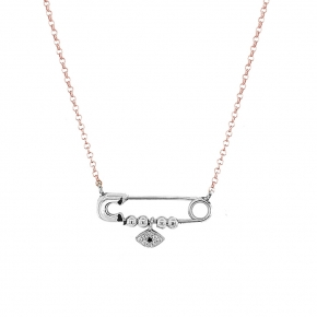 Necklace silver 925 pink gold pltated with rhodium plated and white zirconia - Wish Luck