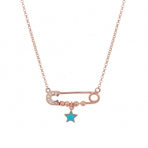 Necklace silver 925 pink gold plated with enamel and white zirconia - Wish Luck