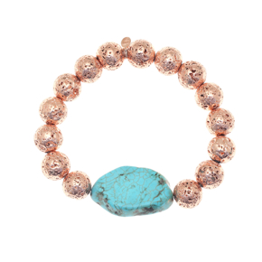 Bracelet silver 925 pink gold plated with turquoise and rose lava beads - Color Me