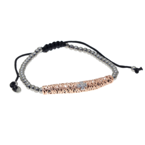 Bracelet silver 925 rose gold plated with white zirconia and cord - WANNA GLOW