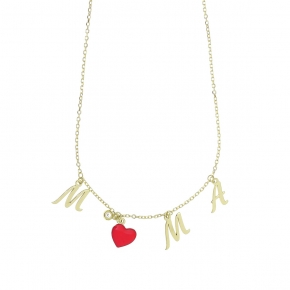 Necklace silver 925 yellow gold plated plated with white zirconia and enamel - Wish Luck