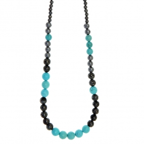 Necklace silver 925 black rhodium plated with turquoise and black lava beads - Color Me