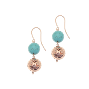 Earrings silver 925 rose gold plated with turqoise and rose lava beads - Color Me