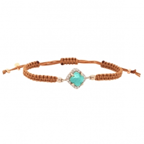 Bracelet silver 925 rose gold plated & with amazonite and white zirconia with cord - Color Me