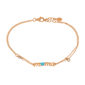 Bracelet silver 925 rose gold plated with white zirconia and enamel - Wish Luck