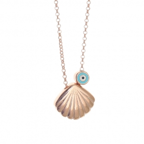 Necklace silver 925 pink gold plated with enamel evil eye - Simply Me