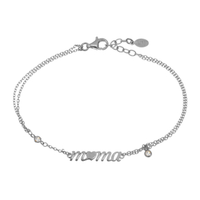 Bracelet silver 925 rhodium plated with white zirconia - Wish Luck