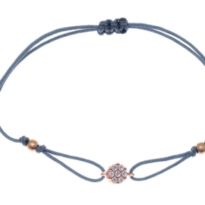 Bracelet with cord silver 925, pink gold plated with colored zirconia - Simply Me