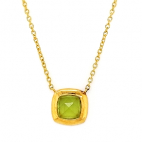 Necklace silver 925 yellow gold plated with doublet gem stones - Color Me