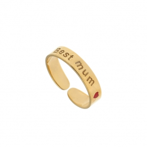Ring silver 925 gold plated with enamel - Wish Luck