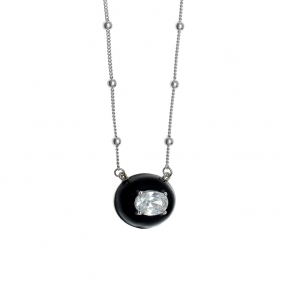 Necklace silver 925 rhodium plated with enamel and zirconia - Color Me