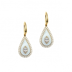 Earrings silver 925 yellow gold plated with enamel and white zirconia - Color Me
