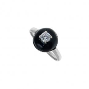 Ring silver 925 rhodium plated with enamel and white zirconia - Color Me