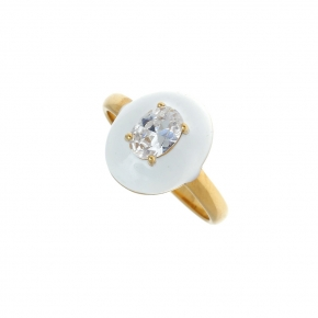 Ring silver 925 yellow gold plated with enamel and white zirconia - Color Me