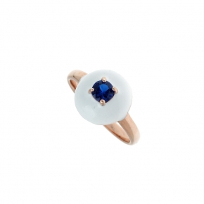 Ring silver 925 rose gold plated with enamel and white zirconia - Color Me
