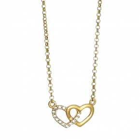 Necklace silver 925 yellow gold plated with white zirconia - Simply Me