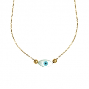 Necklace silver 925 yellow gold plated with an eye out of fildisi - Wish Luck