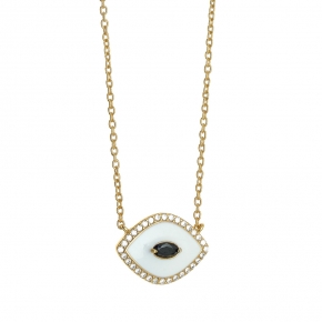 Necklace silver 925 yellow gold plated with enamel and zirconia - Color Me