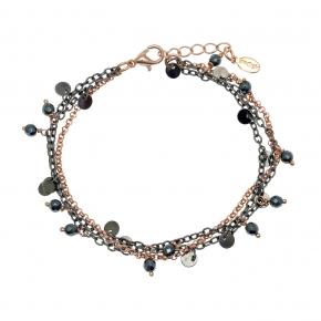 Bracelet metal rose gold and black rhodium plating with hematite - Funky Metal