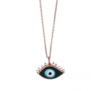 Necklace silver 925 pink gold plated & with enamel evil eye (1.5cm x 1 cm) - Wish Luck