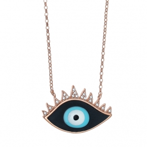 Necklace silver 925 pink gold plated & with enamel evil eye (2.4cm x 1,5 cm) - Wish Luck