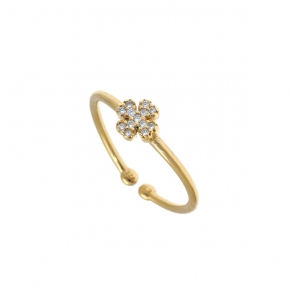 Ring silver 925 gold plated with white zirconia - Simply Me