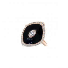 Ring silver 925 pink gold plated with enamel and zirconia - Color Me