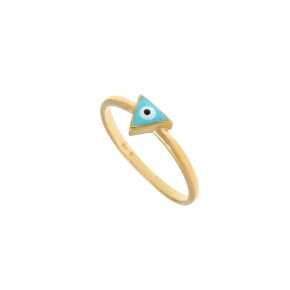 Ring silver 925 gold plated & with enamel evil eye - Wish Luck
