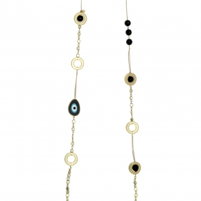 Necklace silver 925 yellow gold plated with synthetic stones - Wish Luck