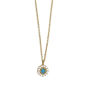 Necklace in silver 925 yellow gold plated with colored zirconia - Simply Me