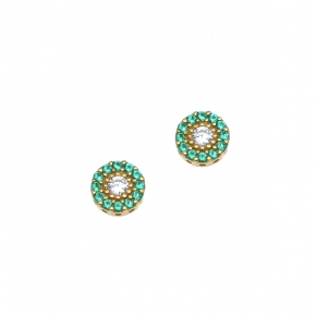 Earings in silver 925 yellow gold plated with colored zirconia - Simply Me
