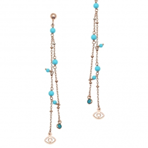 Earings silver 925 pink gold plated & with synthetic stones - Simply Me
