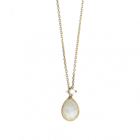 Necklace in silver 925 yellow gold plated with moonstone and white zirconia - Color Me