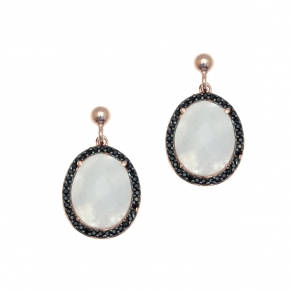Earrings in silver 925 pink gold plated with moonstone and black spinel - Color Me