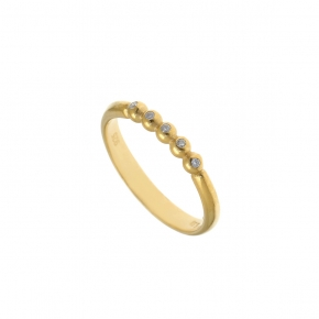 Ring in silver 925 yellow gold plated with white zirconia - Simply Me