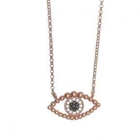 Necklace silver 925 pink gold plated & with white zirconia - Wish Luck