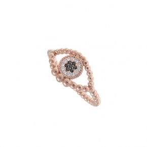 Ring silver 925 pink gold plated & with white zirconia - Wish Luck