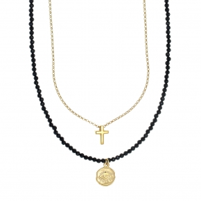 Necklace in silver 925 yellow gold plated with gem stones - Color Me