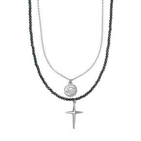Necklace in silver 925 rhodium plated with gem stones - Color Me