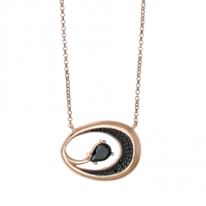 Necklace silver 925 pink gold plated with black zirconia and black spinel - WANNA GLOW