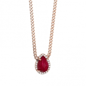 Necklace in silver 925 pink gold plated with rubi and white zirconia - Color Me