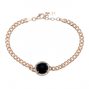 Bracelet silver 925 pink gold plated with onyx and white zirconia - Color Me