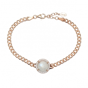 Bracelet silver 925 pink gold plated with moonstone and white zirconia - Color Me