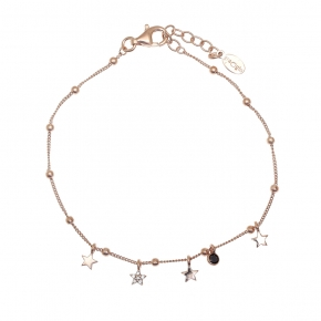 Bracelet silver 925 pink gold plated with white zirconia - Simply Me