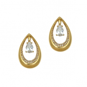 Earings silver 925 yellow gold plated & with white zirconia - WANNA GLOW