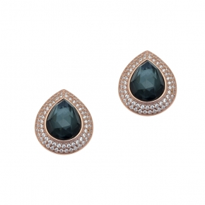 Earings silver 925 rose gold plated with doublet gem stones and zirconia - Color Me