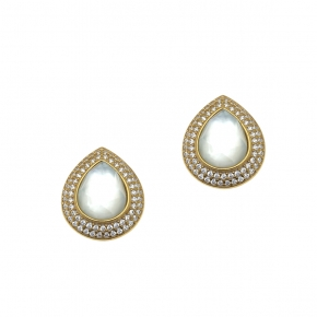Earings silver 925 yellow gold plated with doublet gem stones and zirconia - Color Me