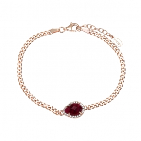 Bracelet silver 925 pink gold plated with rubi and white zirconia - Color Me