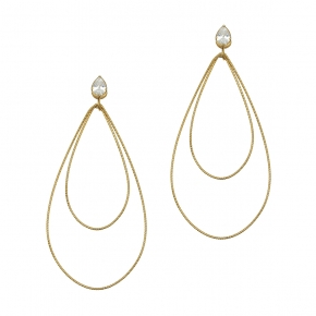 Earrings in silver 925 yellow gold plated with white zirconia - Funky Metal