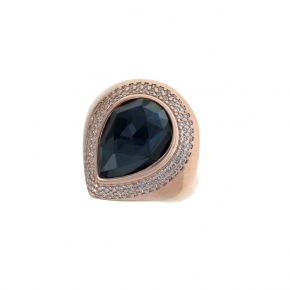 Ring silver 925 rose gold plated with doublet gem stones and zirconia - Color Me